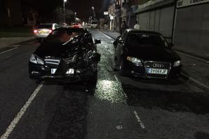 WATCH: Mercedes driver smashes into parked Audi and staggers away abandoning vehicle