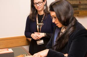 Priti Patel visits British Library to see preservation of historic Indian manuscripts