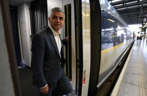 Asian Image: Mayor of London Sadiq Khan boards a Eurostar train at St Pancras International station, London, for a trip to Paris.